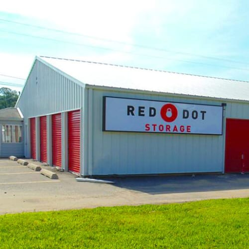 Outdoor storage units at Red Dot Storage in Pine Bluff, Arkansas