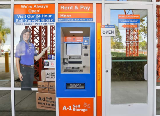 24-hour kiosk at A-1 Self Storage in San Diego, California