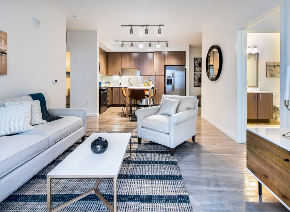 Mid-century modern furnishings in an apartment at Elevate in Englewood, Colorado