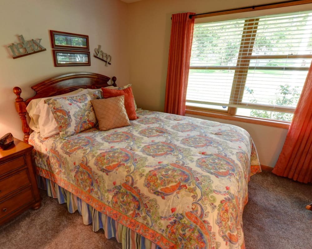 Cozy memory care studio at Garnett Place in Cedar Rapids, Iowa.
