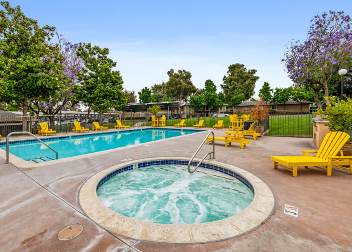 Relaxing spa near the pool at Country Hills Apartment Homes in Corona, CA