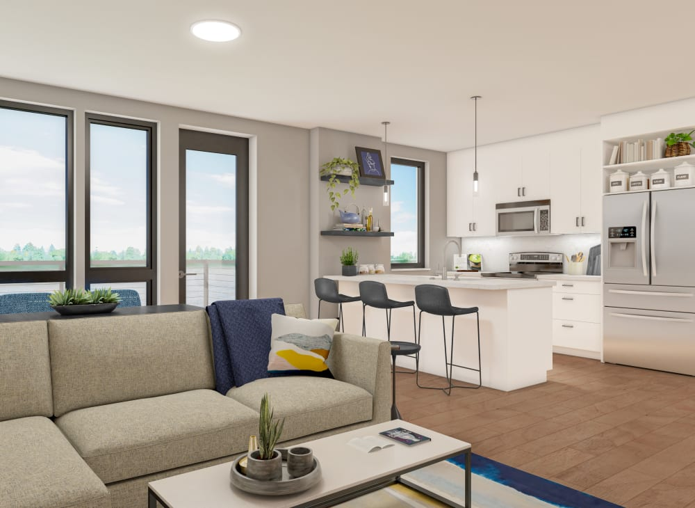 Rendering of Sleek modern décor in an apartment with river view at The Columbia at the Waterfront in Vancouver, Washington