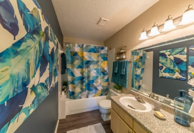 Well-lit bathroom with a large vanity mirror in a model home at Village Green of Bear Creek in Euless, Texas