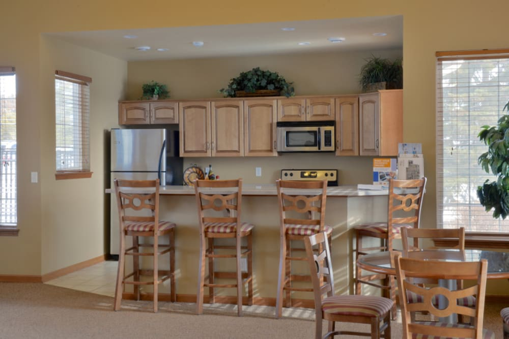 The clubhouse at Parquelynn Village Apartments has a community kitchen for resident use