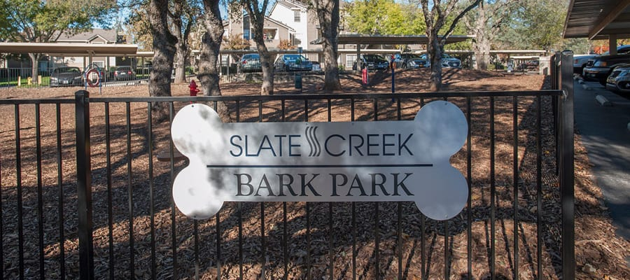 Pups are welcome at the Bark Park at Slate Creek Apartments in Roseville, California