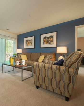 Spacious living room at Park Villas Apartments in Lexington Park, Maryland