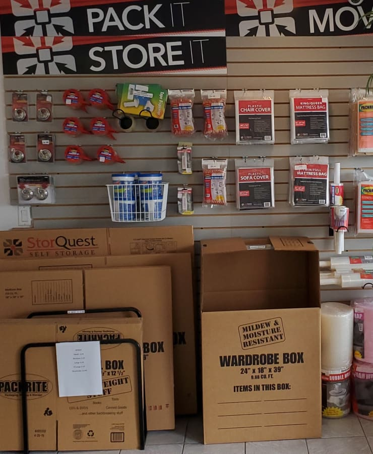 Packing supplies sold at StorQuest Self Storage in Clearwater, Florida