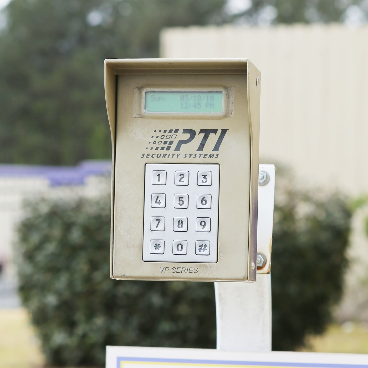 Keypad entrance to StoreSmart Self-Storage in Riverdale, Georgia
