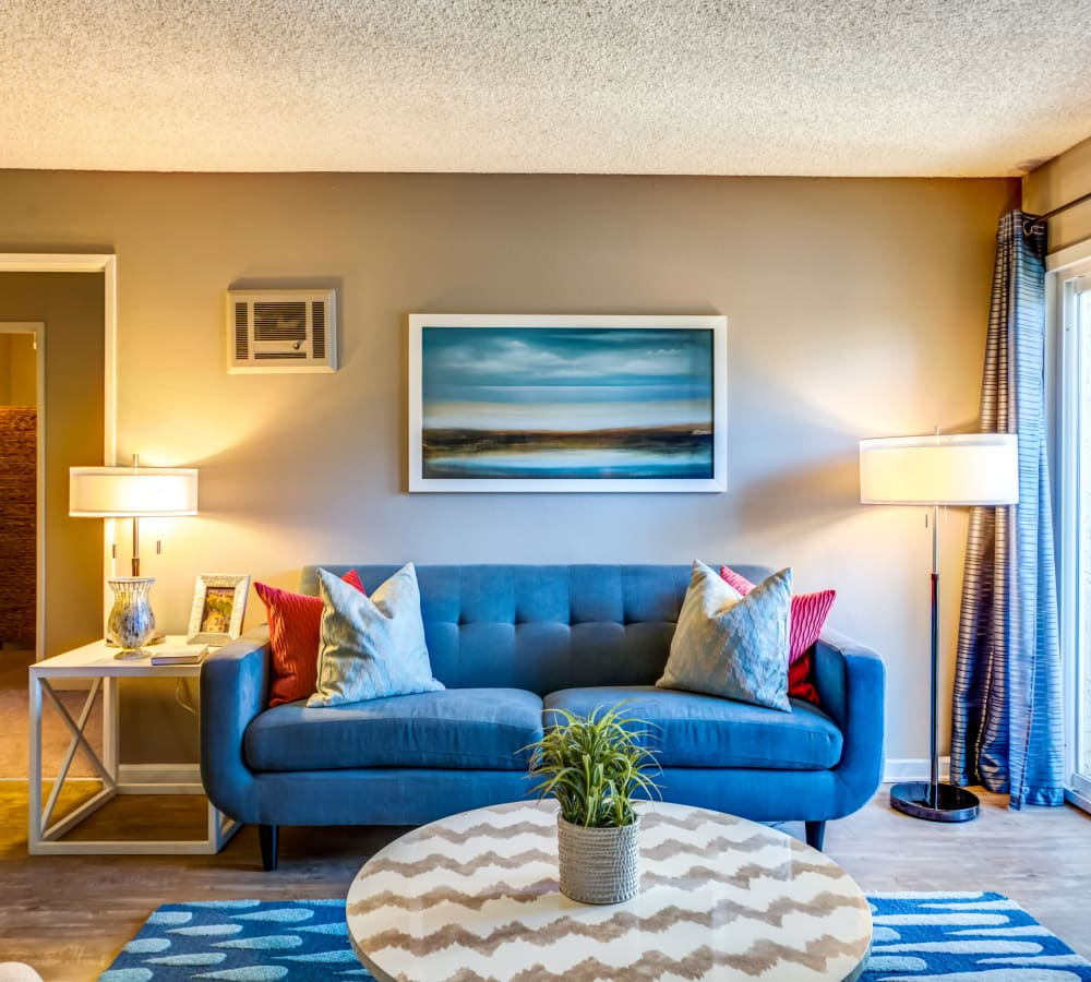 Modern decor in the living space of a model home at Sofi Poway in Poway, California