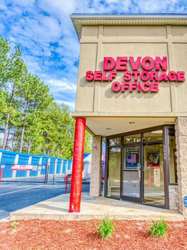 Leasing office and gated entry into Devon Self Storage in Charlotte, North Carolina