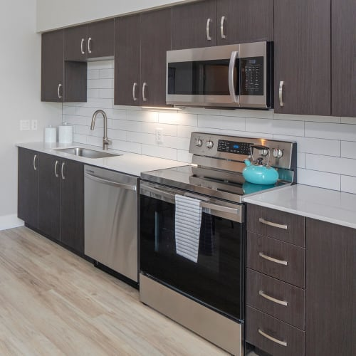 Model kitchen at Brookside Apartments in Gresham, Oregon