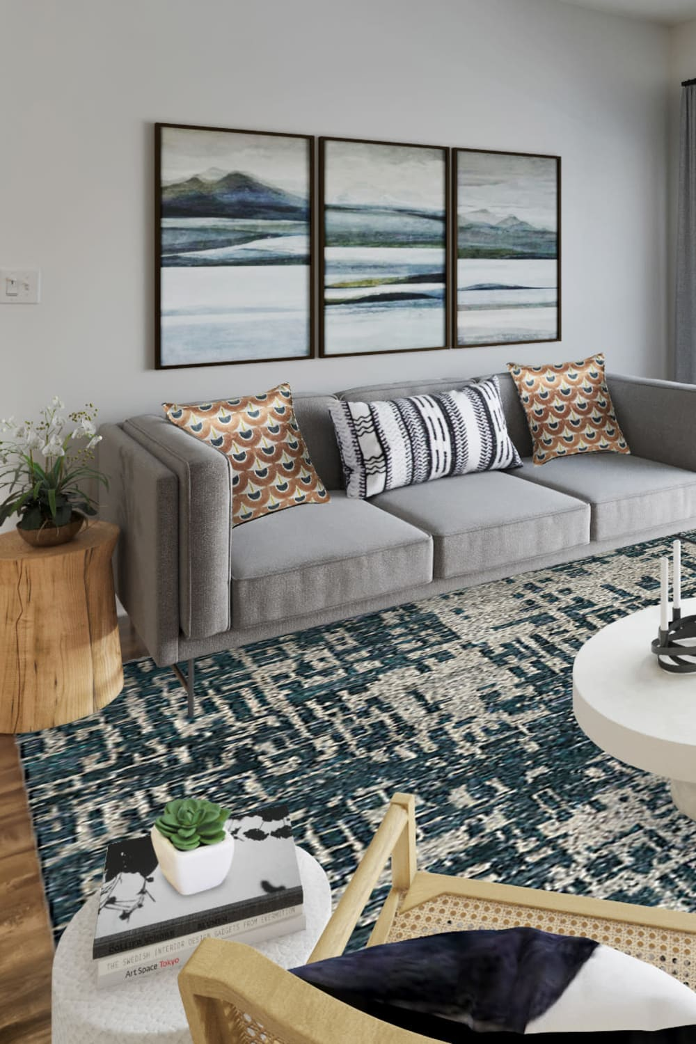 Spacious and modern open-concept floor plan in a model home at Sofi Gaslight Commons in South Orange, New Jersey