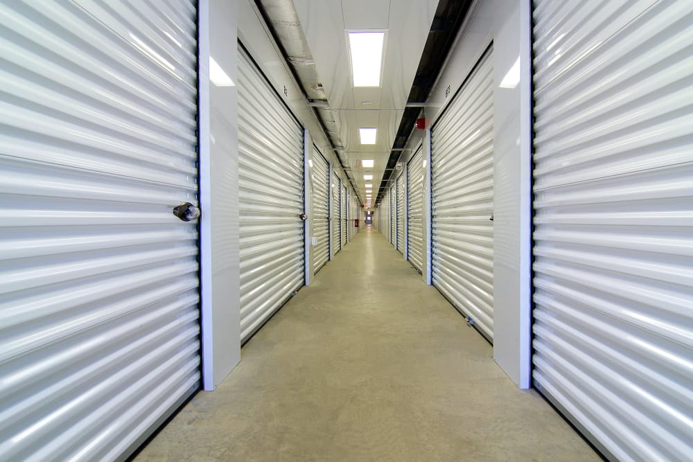 Indoor storage units at A Space Place Self Storage in Medford, New York