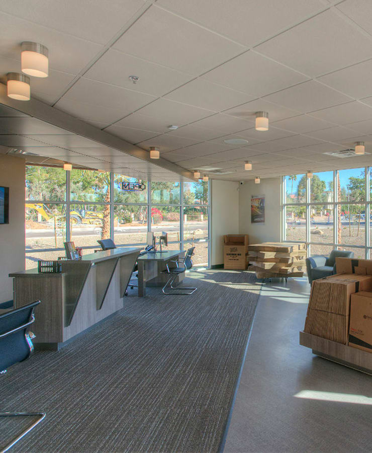 Interior of the leasing office with packing supplies for sale at StorQuest Self Storage in Scottsdale, Arizona