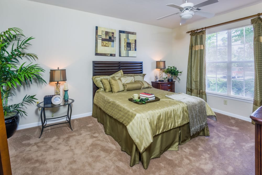 Beautiful bedroom at One Rocky Ridge Apartment Homes in Douglasville, Georgia