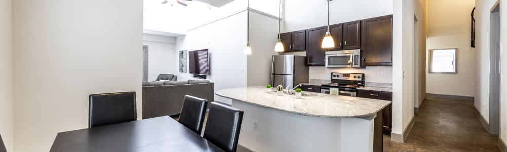 Kitchen island at Regents West at 26th in Austin, Texas