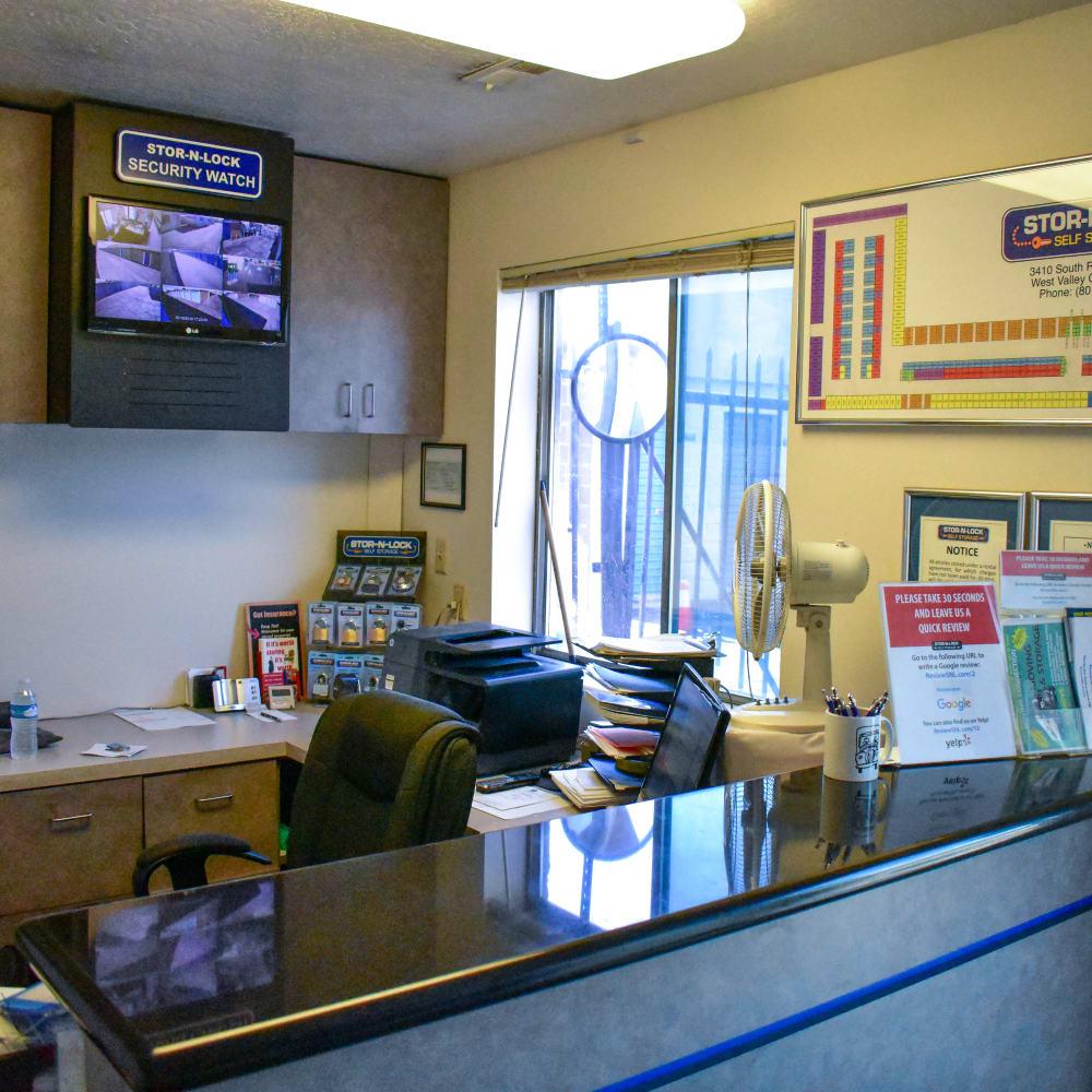 Inside the welcoming office at STOR-N-LOCK Self Storage in West Valley City, Utah