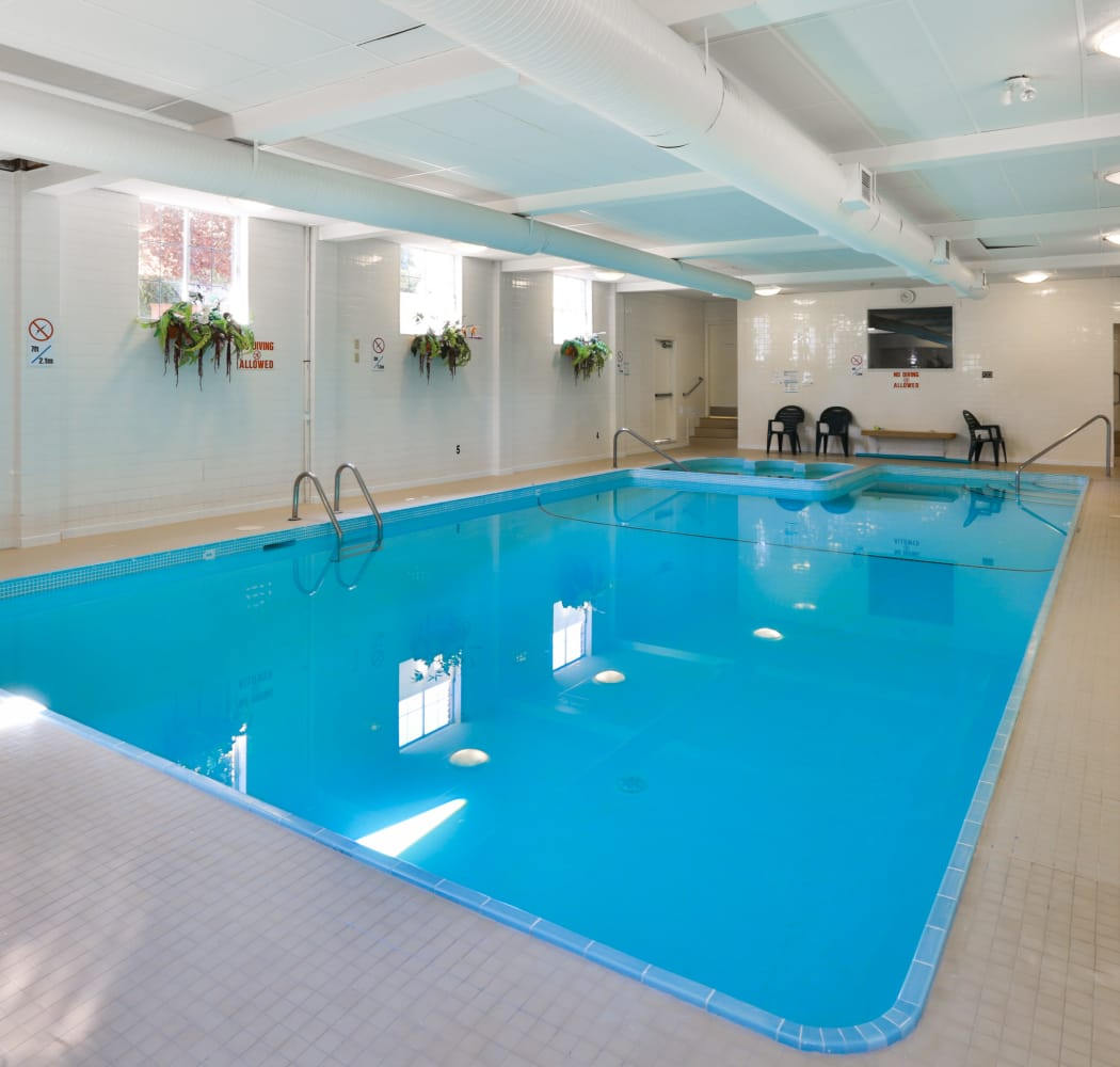 Beautiful indoor pool at Fraser Tolmie Apartments in Victoria