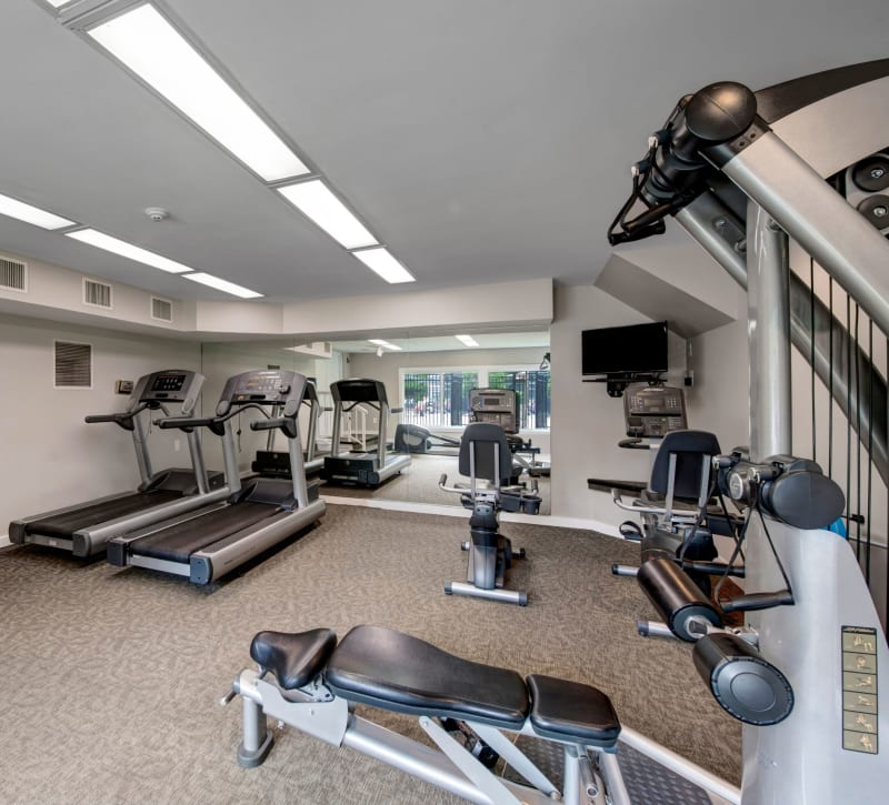 Fully equipped fitness center at West Springfield Terrace in Springfield, Virginia