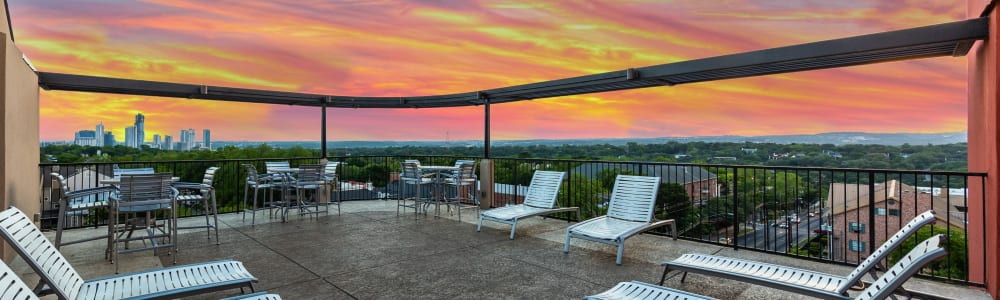 Rooftop lounge at sunset at Regents West at 24th in Austin, Texas