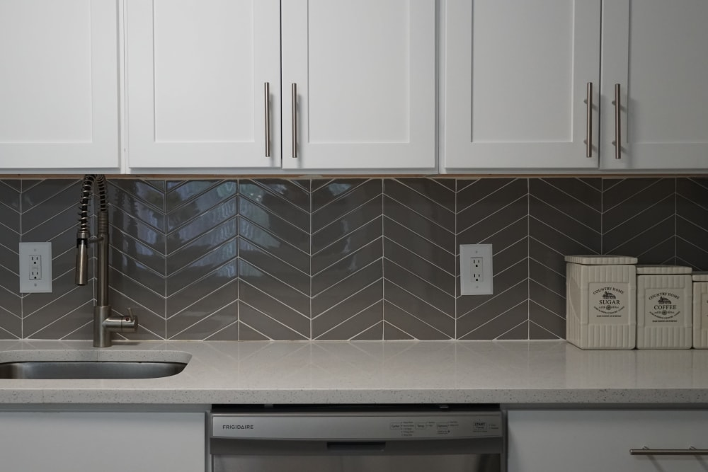 Kitchen with tile backsplash at Element 250 in Hartford, Connecticut
