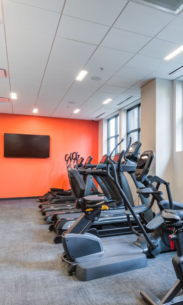Fully equipped fitness center at Main Street Apartments in Rockville, Maryland