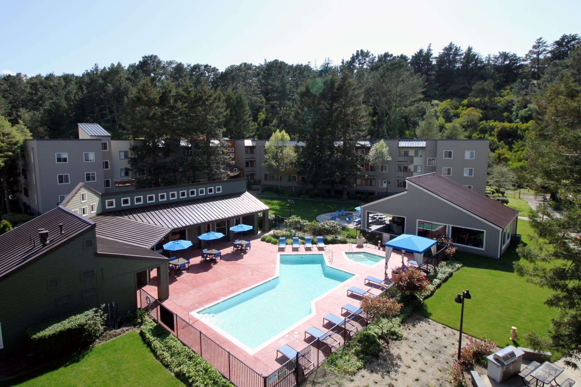 Pool Aerial at Serramonte Ridge Apartment Homes