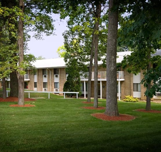 Beautiful grounds at Ann Arbor Woods Apartments in Ann Arbor, Michigan