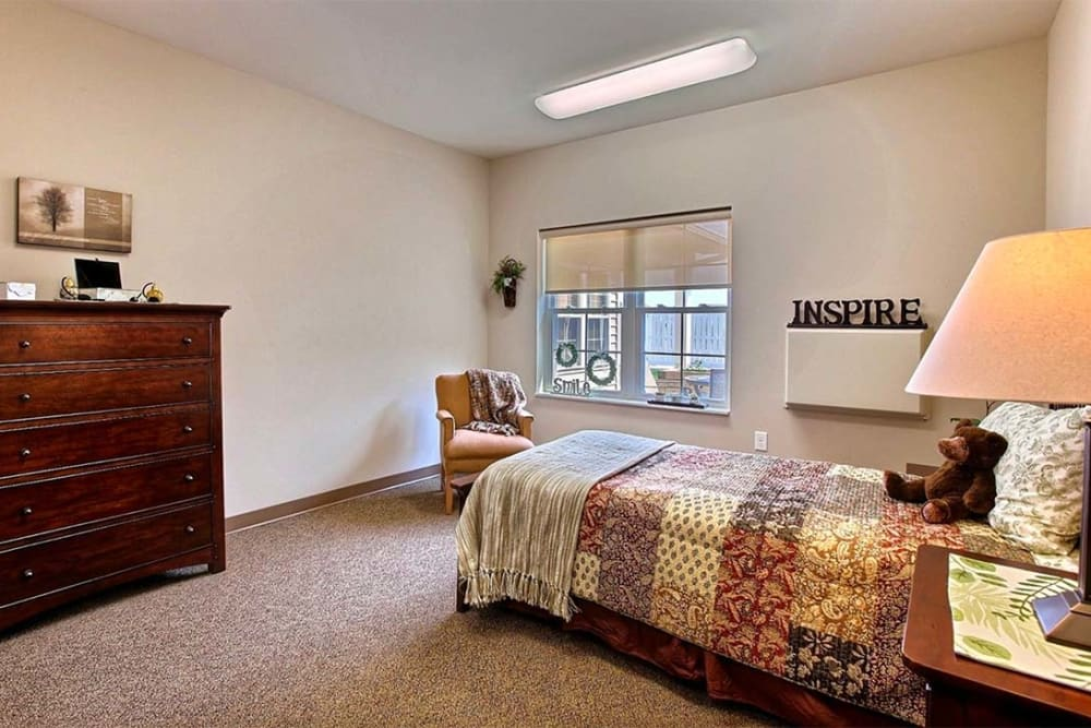Resident bedroom at Milestone Senior Living in Hillsboro, Wisconsin.