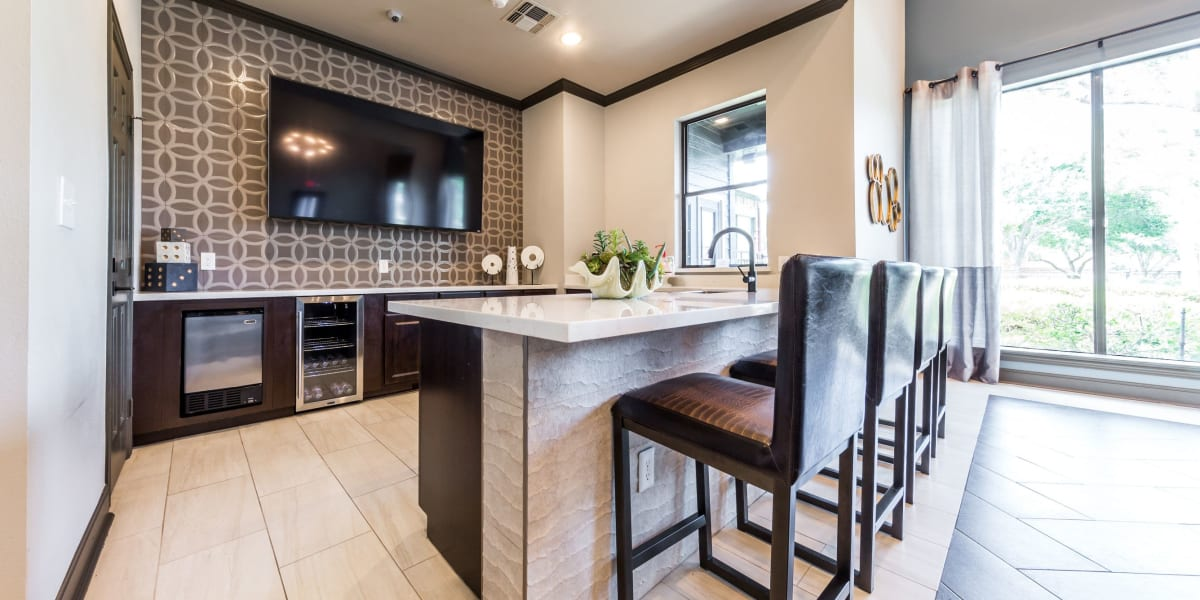 Community kitchen at Marquis at Stonebriar in Frisco, Texas