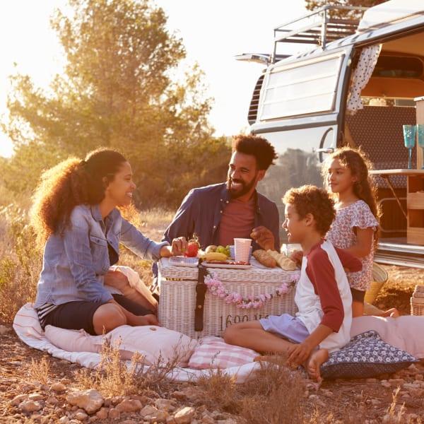 Residents having a picnic near Capitol Flats in Santa Fe, New Mexico