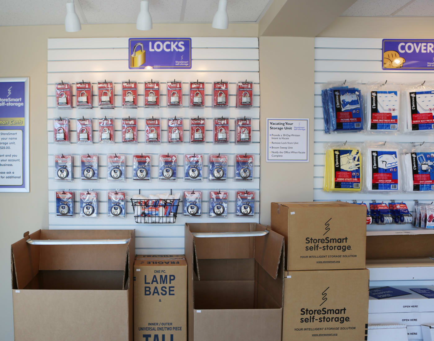 Packing and moving supplies for sale at StoreSmart Self-Storage in Spring Lake, North Carolina