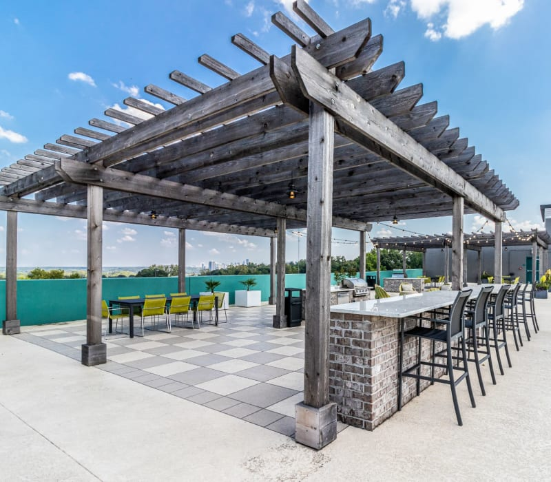 Community rooftop outdoor lounge at Skyline West in Atlanta, Georgia