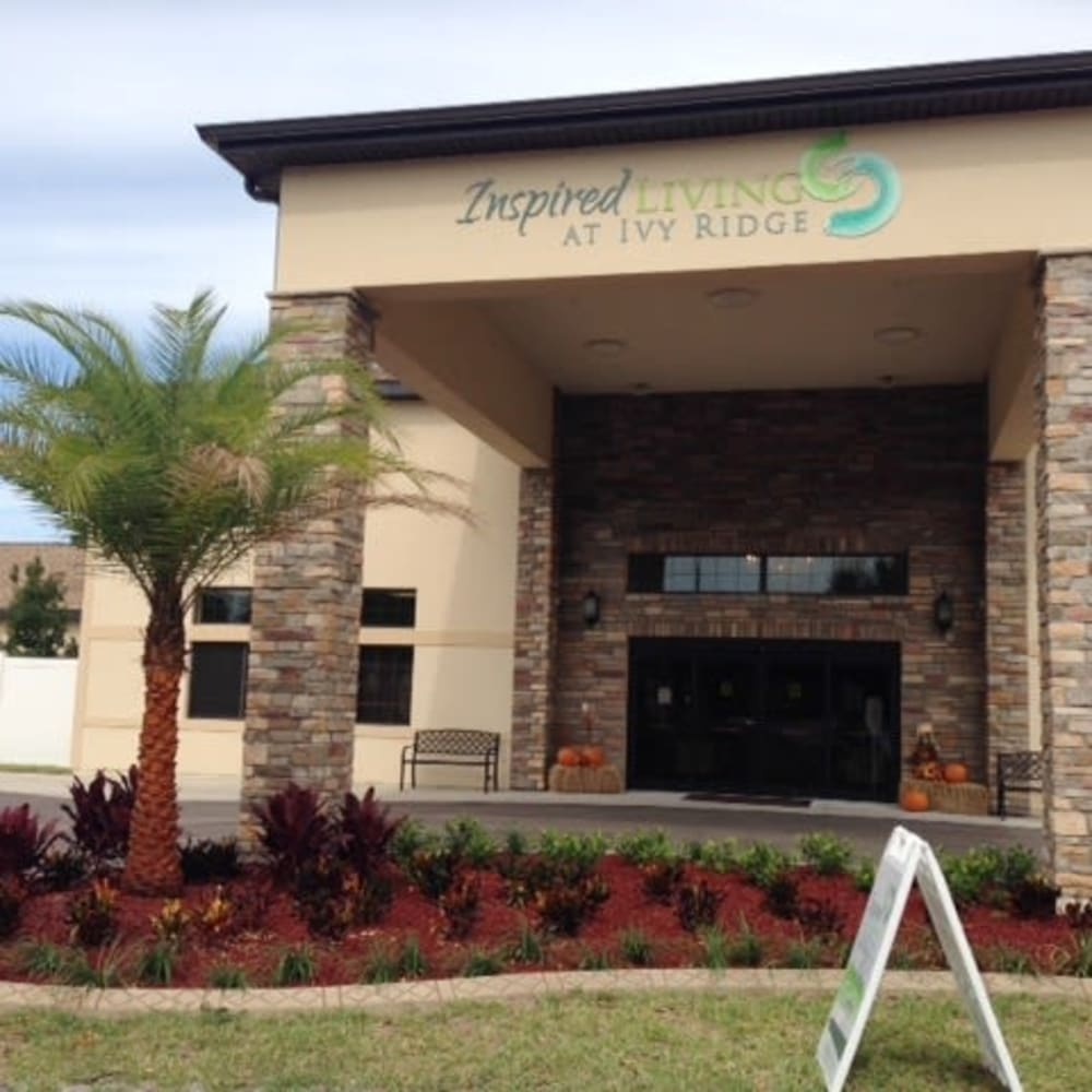 Exterior of main entrance to Inspired Living Ivy Ridge in St Petersburg, Florida.