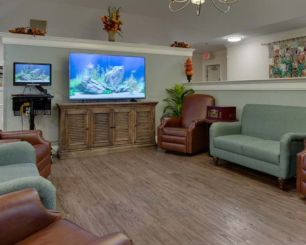 Tv lounge at Willow Springs Senior Living in Spring Hill, Tennessee