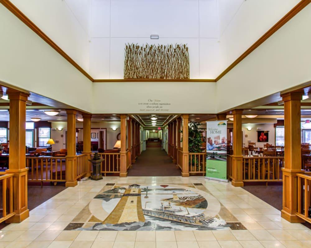 Main lobby with tile mosaic at Prairie Hills Clinton in Clinton, Iowa.