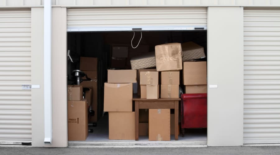 A storage unit filled with boxes at KO Storage of Casper in Evansville, Wyoming