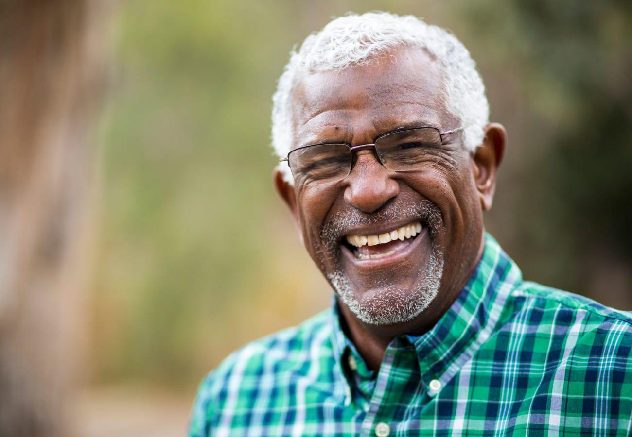 Happy resident at Farmington Square Beaverton in Beaverton, Oregon
