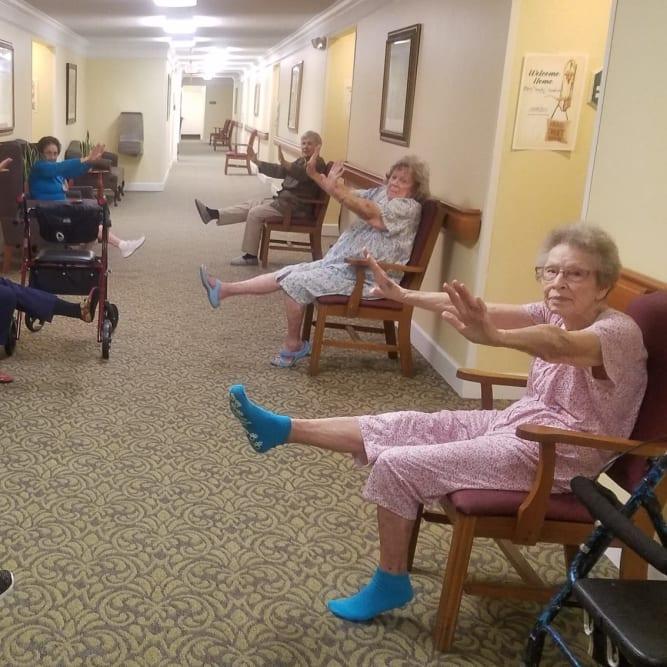 Seniors maintaining social distancing at Grand Villa of Altamonte Springs in Altamonte Springs, Florida