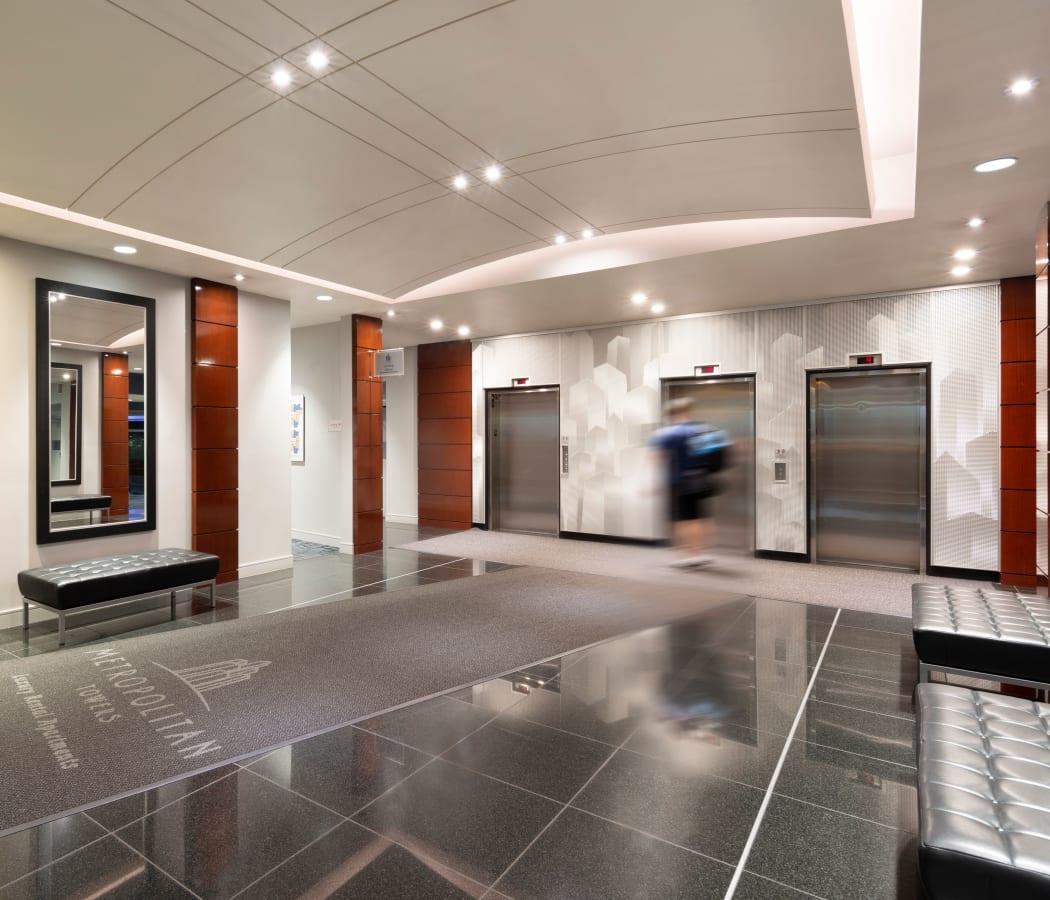 Elevators at Metropolitan Towers in Vancouver, British Columbia