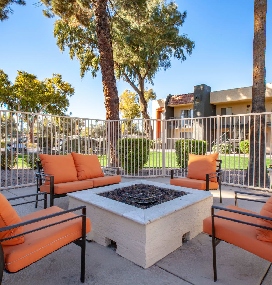 Outdoor fire pit at Villetta Apartments in Mesa, Arizona