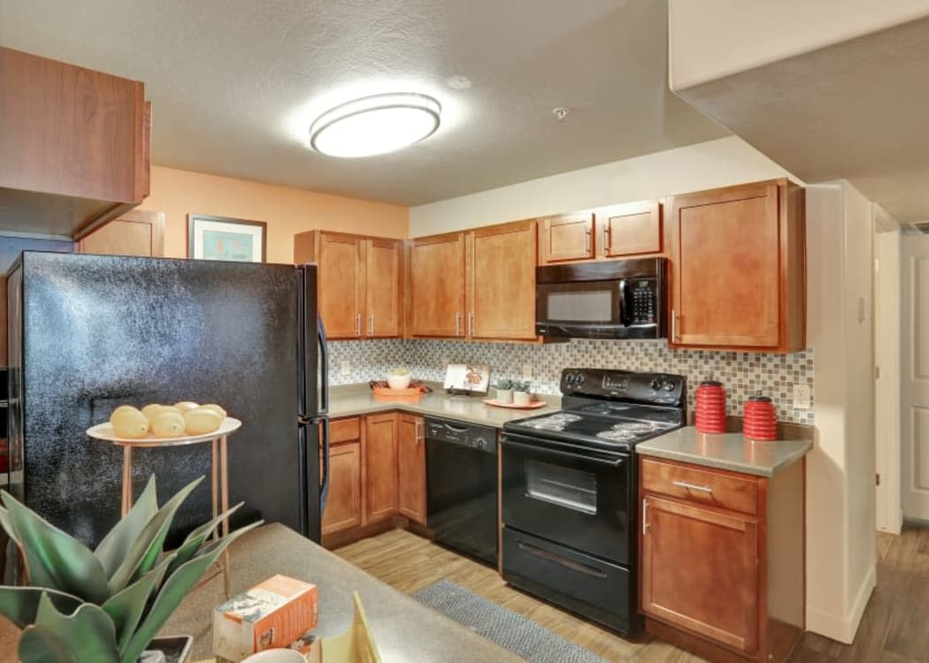 Modern kitchen at Meadowbrook Station Apartments in Salt Lake City, Utah