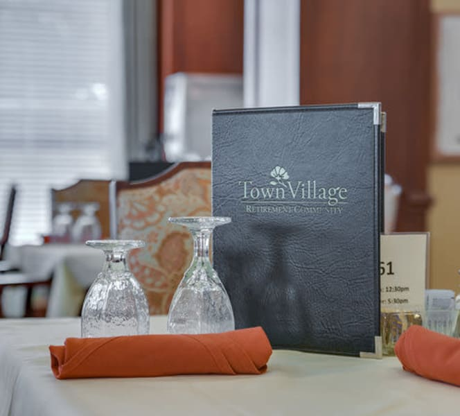 A dining table at Town Village in Oklahoma City, Oklahoma