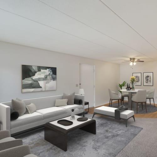 An open-concept floor plan at Vantage Pointe West Apartments in Cincinnati, Ohio