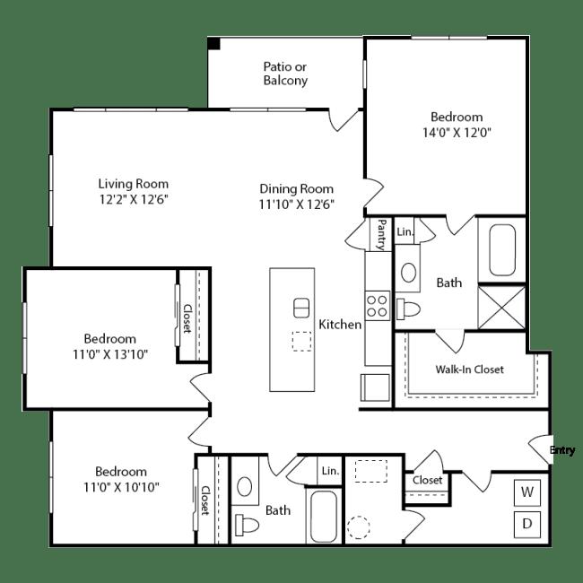 Spacious three-bedroom Aspen Layout at Iron Works Village near Denver, Colorado