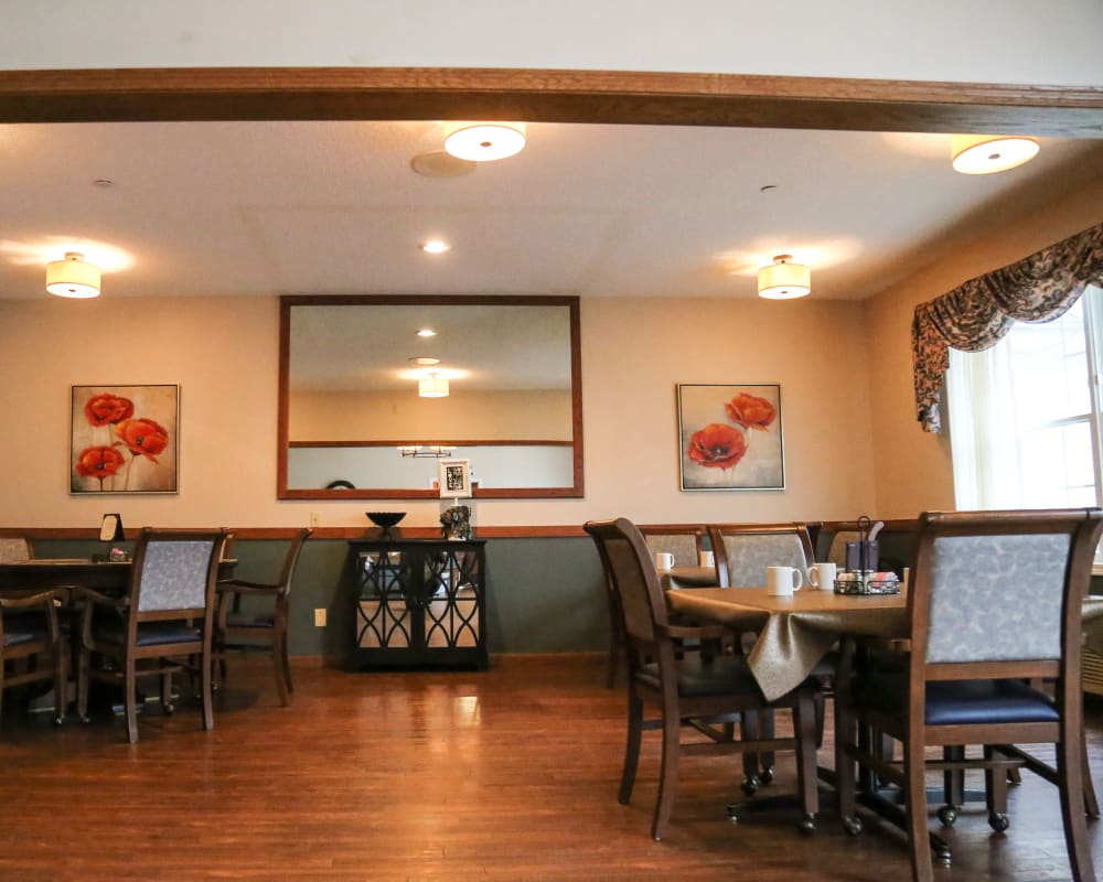 Spacious resident dining room at Liberty Court in Dixon, Illinois.