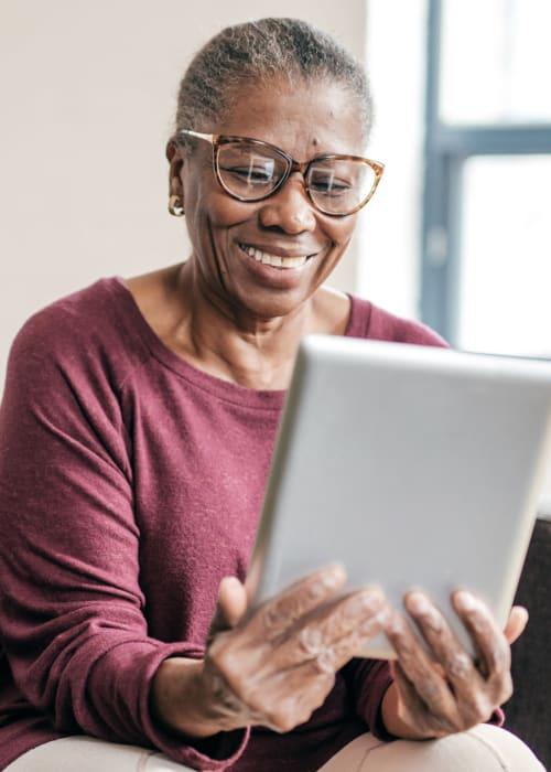 Resident using an iPad