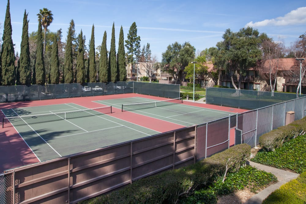 Tennis court at Valley West Apartments in San Jose, California