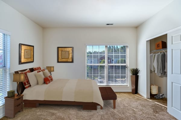 Cozy bedroom at Christopher Wren Apartments & Townhomes in Wexford, Pennsylvania