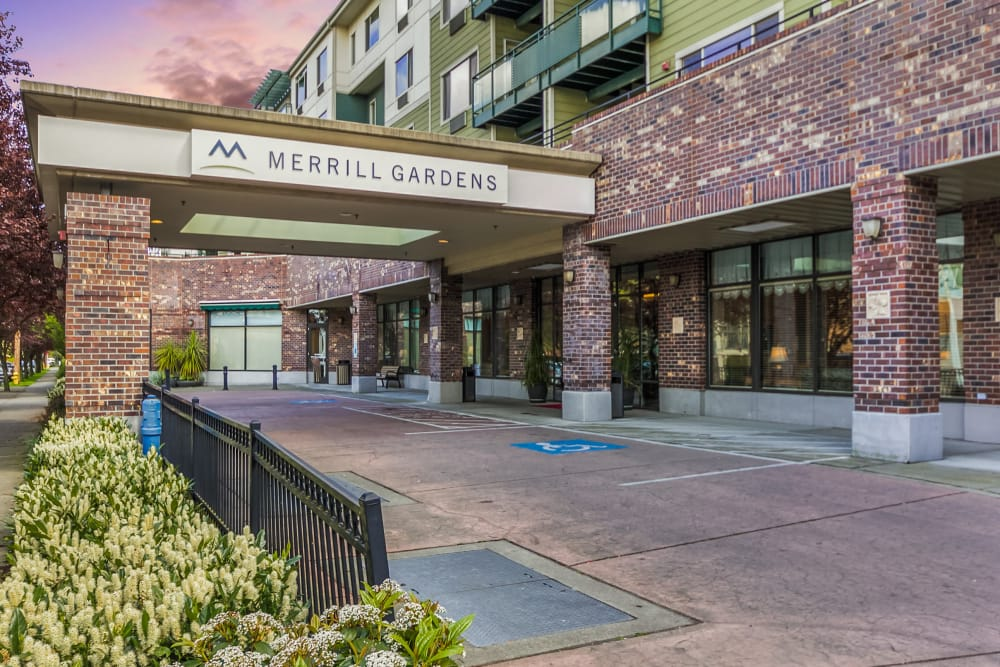 Front entrance at Merrill Gardens at Renton Centre